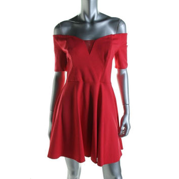 Guess Womens Ponte Off-The-Shoulder Clubwear Dress