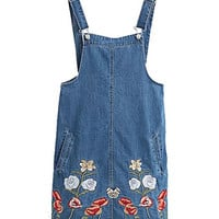 Blue Denim Overall Dress with Floral Pattern