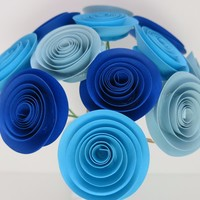 """Ombre Blue paper flowers, shades of blue 1.5"""" roses on stems, one dozen, floral centerpiece, wedding decorations, boy baby nursery decor, bridal party gift ideas"""
