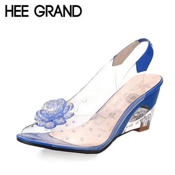 HEE GRAND Summer Sandals Women Peep Toe Wedge Sandals Flowers Sweet Jelly Shoes Woman