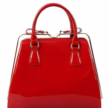 Julia Patent Red Faux Leather Rail Closure Satchel Handbag Purse