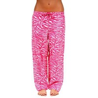 Womens Soft Animal Print Leopard and Zebra Cotton Pajama Bottoms