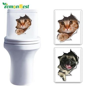 LemonBest 3D Cats Wall Toilet Stickers Hole View Vivid Dogs Bathroom Room Decoration Animal Vinyl Decals Art Sticker Wall Poster