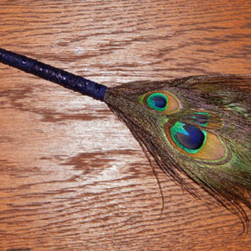 Feather Besom Broom or Smudge Wand - Peacock Feathers with Genuine Ruby and Clear Quartz - Blue Wiccan Besom - OOAK - Free Shipping