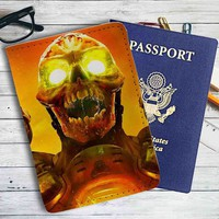 Doom Game Skull Leather Passport Wallet Case Cover