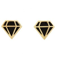 ENAMEL DIAMOND STUD EARRINGS