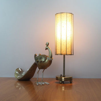 Mid Century Modern Lighting // Small Atomic Lamp with Fiberglass Shade // Vintage Home Decor