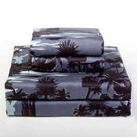 Blue Hawaiian Print Sheet Sets -Tropical Beach Bedding by Sin in Linen