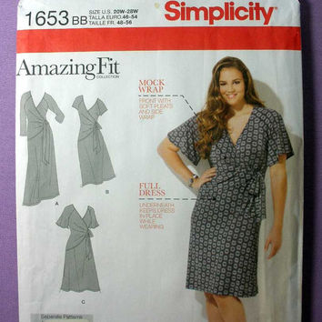 Women's Mock Wrap Dress Simplicity 1653 Plus Size 20, 22, 24, 26, 28 Bust 42, 44, 46, 48, 50 Sewing Pattern Uncut