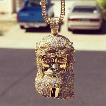 18k Iced Out Jesus Pendant