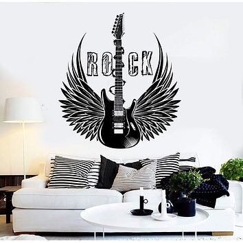 Vinyl Wall Decal Electric Guitar Rock Wings Music Musical Stickers Unique Gift (ig4322)