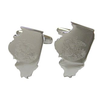 Illinois State Map Shape and Flag Design Cufflinks