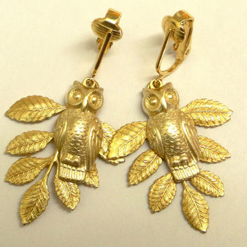 Owl branch earrings. Brass leaf, clip or pierced