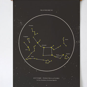 Autumn Night Star Chart - PRINTABLE FILE. Seasonal Constellations. Zodiac Celestial Astronomy Print. Night Sky Chart. Star Map Zodiac Print.