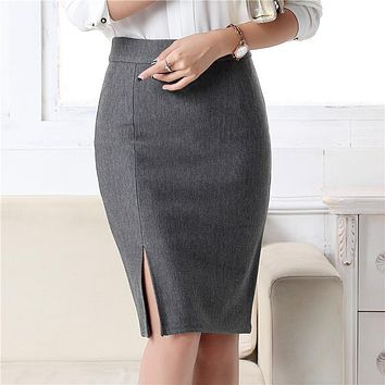Women Office Formal Pencil Skirt Autumn Winter Elegant Slim Front Slit Midi Skirt Black/Gray/Red/Blue OL Skirts