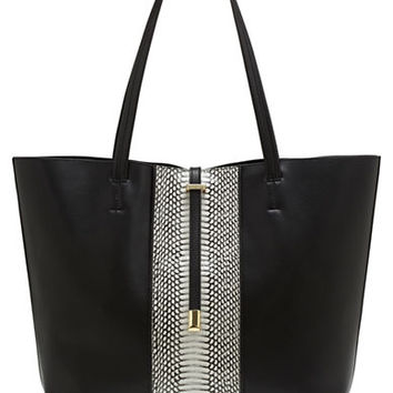 Vince Camuto Leila Leather Embossed Stripe Tote