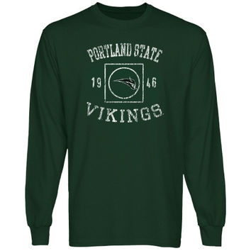 Portland State Vikings University Lockup Long Sleeve T-Shirt - Green