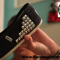 Bandana Fever Custom Studded TOMS Black Canvas Silver Pyramid Studs Sides