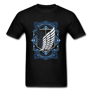 Cool Attack on Titan  2018 Summer Cool Black T-Shirt Men T Shirts Japanese Trendy Anime Symbol Print Man Tshirt Young Style AT_90_11