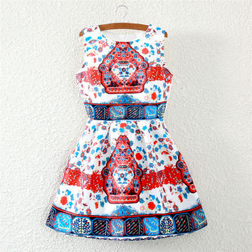 Multicolor Belt Print Crew Neck Sleeveless Skater Dress