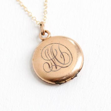 Antique Monogrammed M Small Locket Necklace- 10k Gold Filled 1910s 1920s Early 1900s Photograph Personalized Jewelry