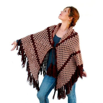 Hand Crochet Triangle Shawl with Fringe and Pom Poms Brown Light Brown Poncho Capelet Wrap Winter Fashion