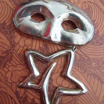 Sterling Silver Mask & Star Brooch-Pendant, Taxco Mexico, Articulated Dangle, Large, Vintage