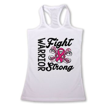 Women's Warriors Fight Strong Breast Cancer Awareness Racerback TANK TOP WHITE