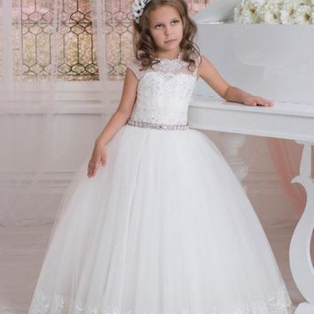 Vintage Flower Girls Dresses For Weddings Party Lace Appliques Beads Cap Sleeves Little Kids Holy First Communion Dress 2016