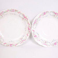 Vintage CT Germany Saucers Green Phoenix Set of 2 Pink and Blue Floral Design White Porcelain