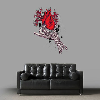 kcik71 Full Color Wall decal heart hand blood artirii bedroom living room for teens