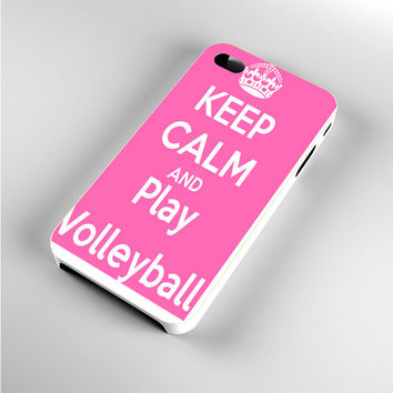 Keep Calm Play On Volleyball Pink iPhone 4s Case