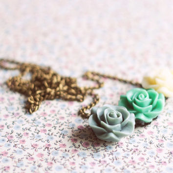 Flower Cabochon Necklace.Floral Necklace.Cabochon roses pendant.Pastel Statement Necklace -Gift for girlfriend.Jewelry For Her Under 20.