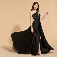 One shoulder split front dresses black floor length a line dress women empire formal evening custom gown