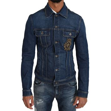 Dolce & Gabbana Blue Denim Royal Crown Bee Logo Jacket