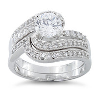 Sterling Silver Fancy Swirl Bridal Engagement Ring and CZ Wedding Band Ring Set - 2 Rings