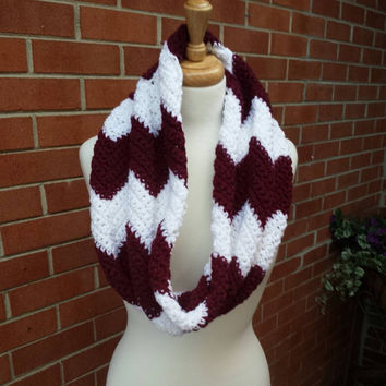 Virginia Tech Maroon & White Chevron Infinity Scarf/ Hokies Team Spirit Scarf/ Women's Scarf/ Crochet Chevron Scarf/ Fall Accessories