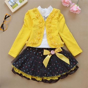 The new year, the girl's dress 2016 fashion Rose Princess Dress / three piece style / autumn winter children 3-10 year old girl