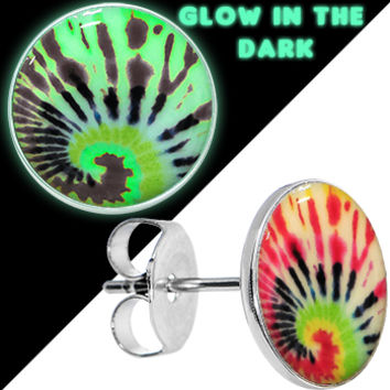 Tie Dye Glow in the Dark Stud Earrings | Body Candy Body Jewelry