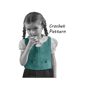 1940s Child's Vest or Sleeveless Sweater Crochet Pattern Sz 6, 8, 10 || Vintage Reproduction Printed Pattern Suzy Q 5142-175