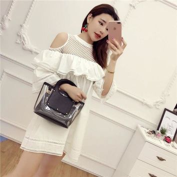 DCCKIHN [Alphalmoda] Off-shoulder Hollow Out Lattice Half-sleeve Cute Babydol Ruffle Dress Women Spring Pullover Loose Dress