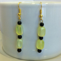 Black and yellow earrings, yellow and black, glass bead dangle earrings, original and unique, glass bead earrings, nickle-free earrings