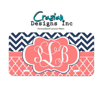 Monogram Front License plate - Navy Chevron Coral Lattice License Plate - Personalized car tag
