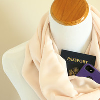 Peach Infinity Scarf with Pocket, Travel Scarf, Lightweight Scarf