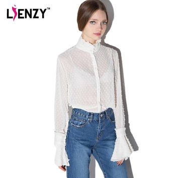 2016 Summer Sexy Women White Shirts Long Lantern Sleeve Mesh Loose 3D Lace Polo Neck C