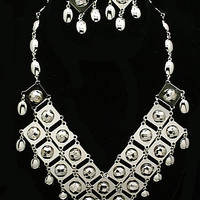 Disco Statement Necklace Earring Set Silver Metal Beads Checkerboard Facets New Years Holiday 2015 Vintage