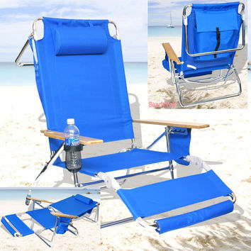 Reclining Beach Chair Lounge with Drink Holder and Storage Pouch