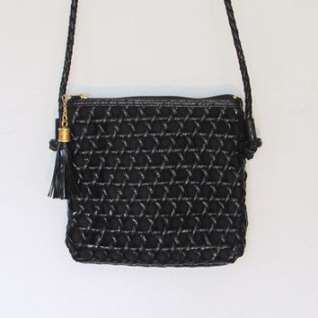 Vintage 1980 - 90s Tianni Black Woven Vinyl Purse / Crossbody Bag