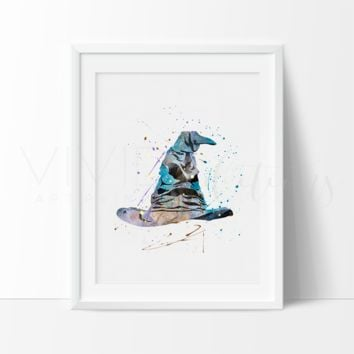 Sorting Hat, Harry Potter Watercolor Art Print