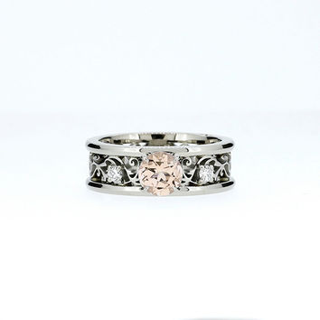 Wide filigree ring with Peach morganite and diamonds, morganite engagement ring, diamond filigree, unique, white gold, yellow gold, peach